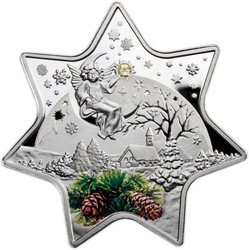 Christmas Star with Swarovski Crystal Proof Silver $2 Niue 2012