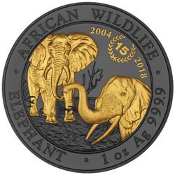 15th. Anniversary ELEPHANT Golden Enigma 1 Oz Silver Coin 100 Sh Somalia 2018