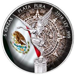 5 oz LIBERTAD - AZTEC CALENDAR Silver Color Coin MEXICO 2018