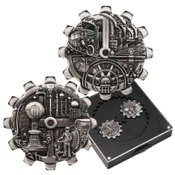 EVOLUTION OF INDUSTRY Set 2x1 Oz Silver GEAR SHAPED COIN Tuvalu 2018