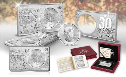 3 oz Silver of 30th Anniv of Maple Coin/Bar Set 2018