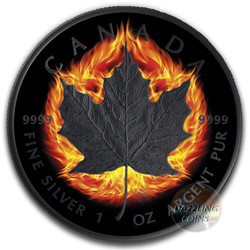 2018 BURNING MAPLE LEAF DOUBLE INCUSE 1 Oz Silver Ruthenium Coin
