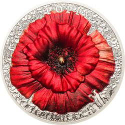 POPPY High Relief Flowers Leaves 2 Oz Silver Coin 10$ Palau 2018
