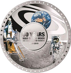 MOON LANDING 50th Anniversary Convex Silver Coin 5$ Solomon Islands 2019