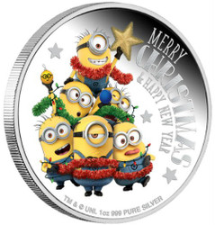 MINION MADE Season Greetings 1 Oz Silver Coin 2$ Niue 2018