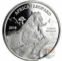 AFRICAN LEOPARD - 1 oz Silver Coin 2018 Republic of Ghana