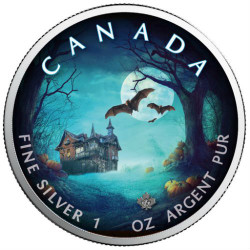 HALLOWEEN Bats - Maple Leaf 1 oz Pure Silver Coin - Canada 2018