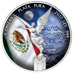 5 oz LIBERTAD - AZTEC CALENDAR Silver Color Coin MEXICO 2017