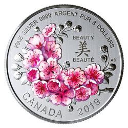 BRILLIANT CHERRY BLOSSOMS $8 Fine Silver Coin - Canada 2019