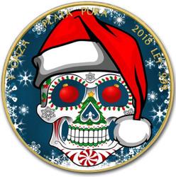 FELIZ NAVIDAD - MERRY CHRISTMAS LIBERTAD 24K Gold PL 1 oz Silver Coin MEXICO 2018