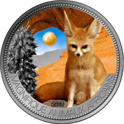Fennec Fox with Jade Silver Coin 1000 Francs Niger 2013