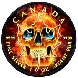 BURNING SKULL 1 Oz Silver Coin 5$ Canada 2018 Ruthenium & 24K Gold