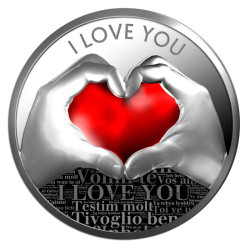 I LOVE YOU –DIGITAL PRINTING – Silver Coin 500 Francs Cameroon 2019