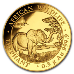 ELEPHANT African Wildlife 0.5 g Pure Gold Coin Somalie 2019