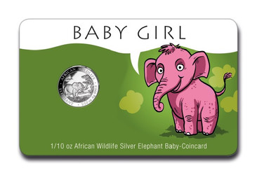 Baby GIRL Coin Card 1/10 oz Silver Elephant 2019 Somalia