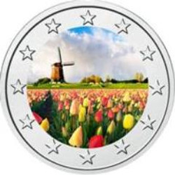 Windmills and Tulips - Colored Coin 2 EURO 2014 Netherlands