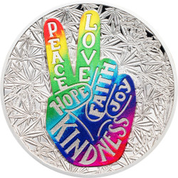 2019 Peace & Love - Sativa 1oz Concave Silver Proof Coin Benin 2019
