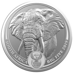 ELEPHANT BIG FIVE 5 Rand 1 Oz Silver - South Africa 2019