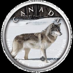 WOLF Trails of  Wildlife MAPLE LEAF  1 Oz  .9999 Silver Coin 2019
