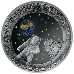 MOON LANDING 50th Ann. Glow-in-dark Silver Coin 20€ Euro Austria 2019