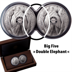 BIG FIVE - ELEPHANT - SET DOUBLE CAPSULE 1 Oz Proof Silver - South Africa 2019