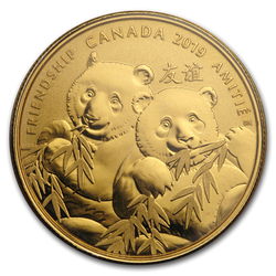 Pandas - A Golden Gift of Friendship Silver Gold Plated Coin $8  Canada 2019