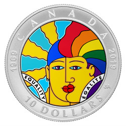 EQUALITY 50th Anniversary $10 1 Oz Silver Color Coin Canada 2019