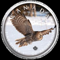 OWL Trails of Wildlife MAPLE LEAF 1 Oz .9999 Silver Coin 2019