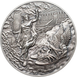 WINGED SANDALS of HERMES Talaria 2 Oz Silver Coin 10$ Cook Islands 2019