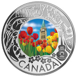 TULIPS - Celebrating Canadian Fun & Festivities Silver Coin $3 Canada 2019