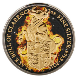 BURNING BULL Queen Beasts 2 Oz Silver Coin 5£ UK 2018