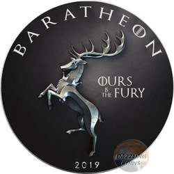 BARATHEON Ours Fury Game of Thrones GOT Walking Liberty 1 Oz Silver Coin 1$ USA 2019