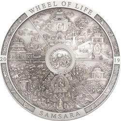 SAMSARA WHEEL OF LIFE Archeology Symbolism 3 Oz Silver Coin Cook Islands 2019