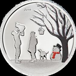 WINTER WONDERLAND Snow Globe Silver Coin Cook Islands 2019