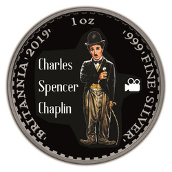 CHARLIE CHAPLIN 1 oz Silver Ruthenium Coin UK 2019