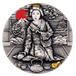 GEISHA Japanese Culture 2 Oz Silver High Relief Coin $2 Niue 2019