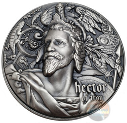 HECTOR OF TROY 2 oz Silver with 360g Copper Coin $5 Niue 2020