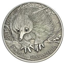 Spiny Anteater 5 Kinas 1 oz .999 pure silver & two real black diamonds.