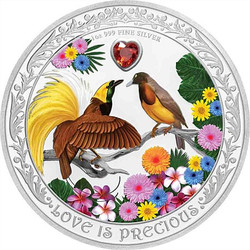 BIRDS OF PARADISE Love Is Precious 1 oz Silver Coin 2020 Niue