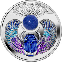 SAPPHIRE SCARABAEUS Silver Coin with Sunstone Sapphire insert 1$ Niue 2019