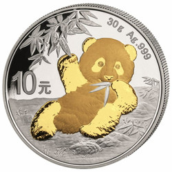 PANDA 30g Silver Gilded Coin China 2020