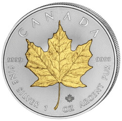 Maple Leaf 1 oz Silver Gilded Coin Canada 2020