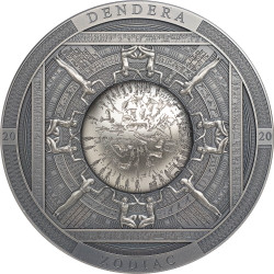 DENDERA Zodiac Egypt 3 oz Silver Antique Coin Cook Islands 2020