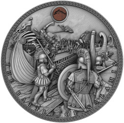 BATTLE OF SALAMIS Sea Battles High Reliefs with Oak insert 2 Oz Silver Coin Niue 2019