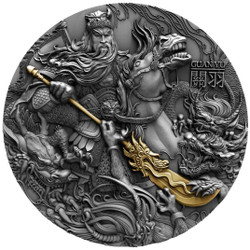 GUAN YU High Relief 2 oz Silver Gold plating Coin Niue 2019