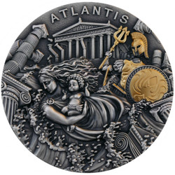 TLANTIS Legendary Lands High Relief 2 oz Silver Coin Niue 2019