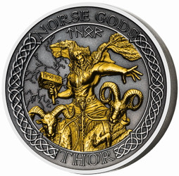 THOR Norse Gods 2 oz Silver Gold Plating Coin Cook Islands 2020