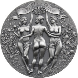 Three GRACES 2 oz Silver Antique Finish Coin Cameroon 2020