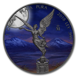 MOONLIGHT Libertad 1 oz Silver Ruthenium plated Coin Mexico 2019