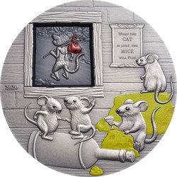 When the cat is away, the Mice will play 2 oz silver Coin $10 Palau 2020